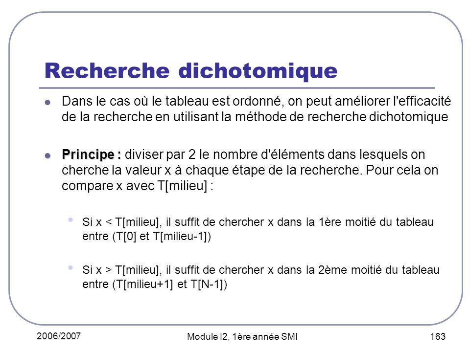 2006/2007 Module I2, 1ère année SMI 163 Recherche dichotomique Dans le cas où le tableau est ordonné, on peut améliorer l efficacité de la recherche en utilisant la méthode de recherche dichotomique Principe : Principe : diviser par 2 le nombre d éléments dans lesquels on cherche la valeur x à chaque étape de la recherche.