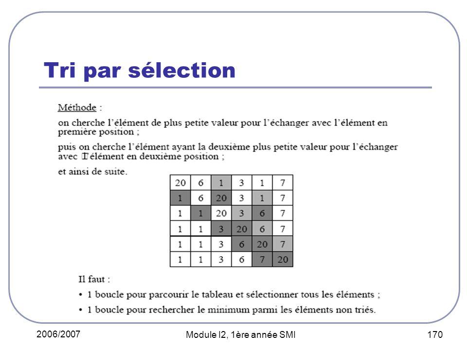 2006/2007 Module I2, 1ère année SMI 170 Tri par sélection