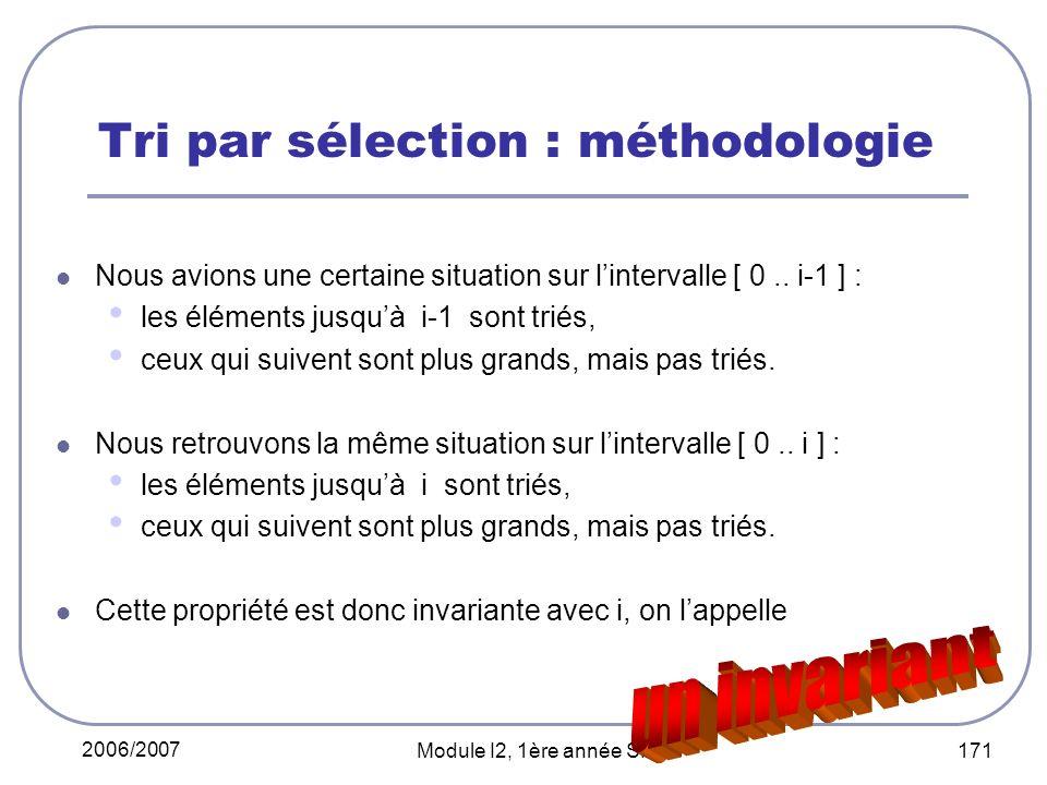 2006/2007 Module I2, 1ère année SMI 171 Nous avions une certaine situation sur lintervalle [ 0.. i-1 ] : les éléments jusquà i-1 sont triés, ceux qui