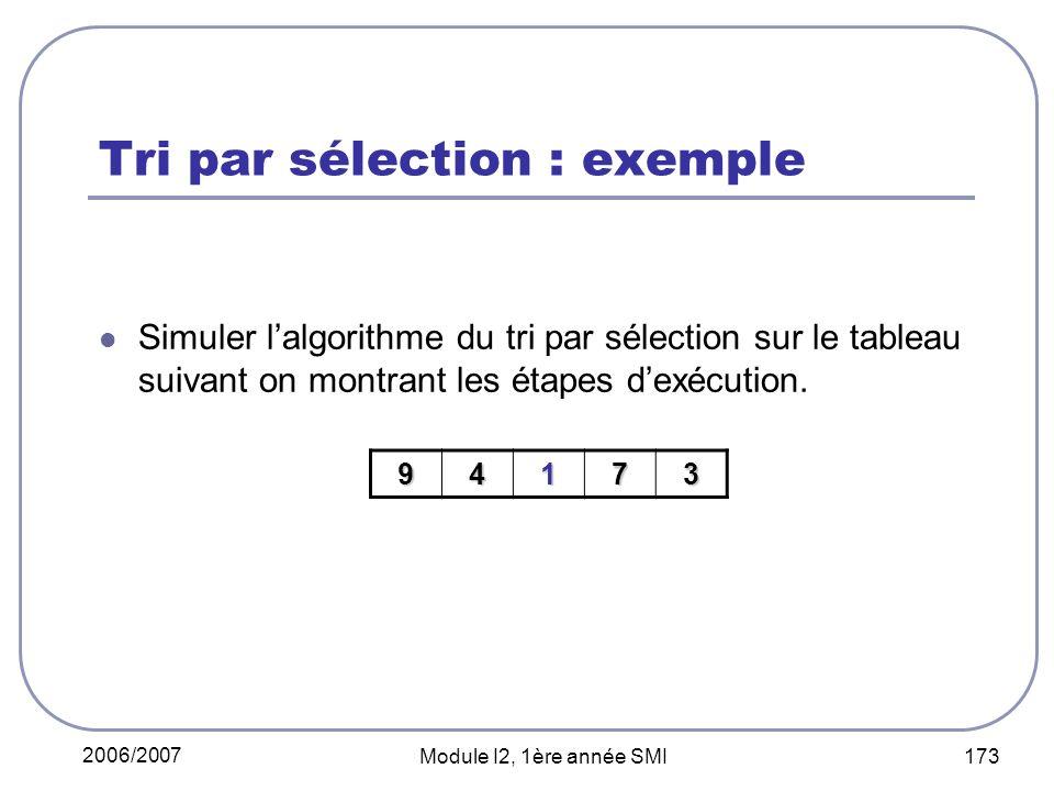 2006/2007 Module I2, 1ère année SMI 173 Tri par sélection : exemple Simuler lalgorithme du tri par sélection sur le tableau suivant on montrant les étapes dexécution.