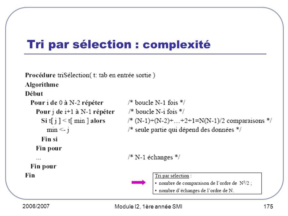 2006/2007 Module I2, 1ère année SMI 175 Tri par sélection : complexité