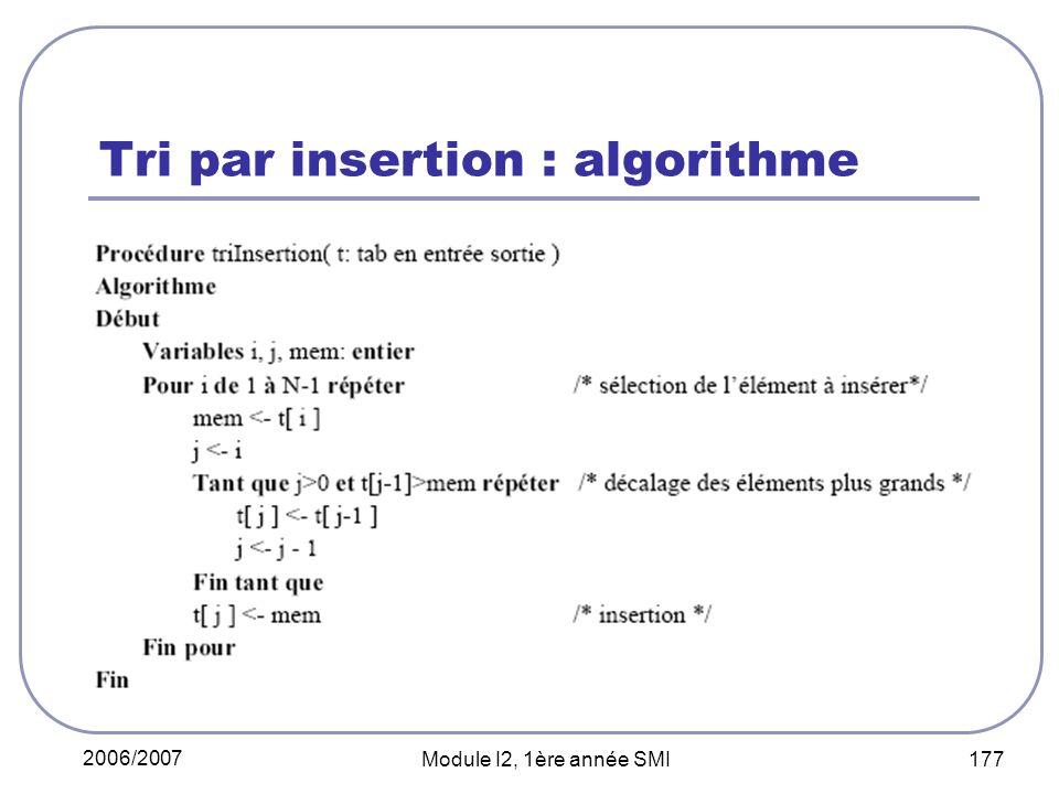 2006/2007 Module I2, 1ère année SMI 177 Tri par insertion : algorithme
