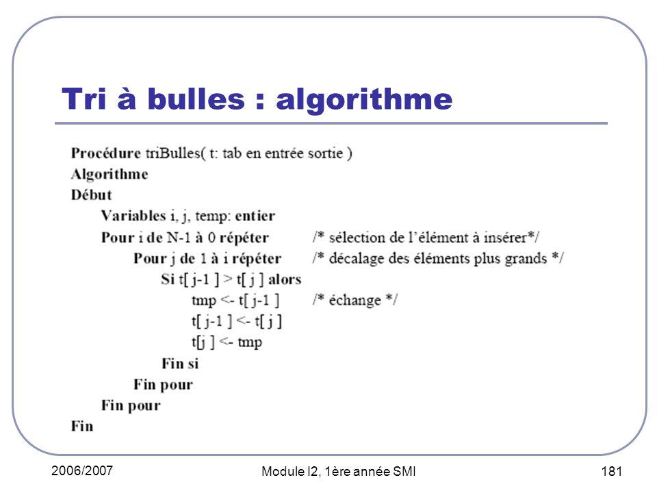 2006/2007 Module I2, 1ère année SMI 181 Tri à bulles : algorithme
