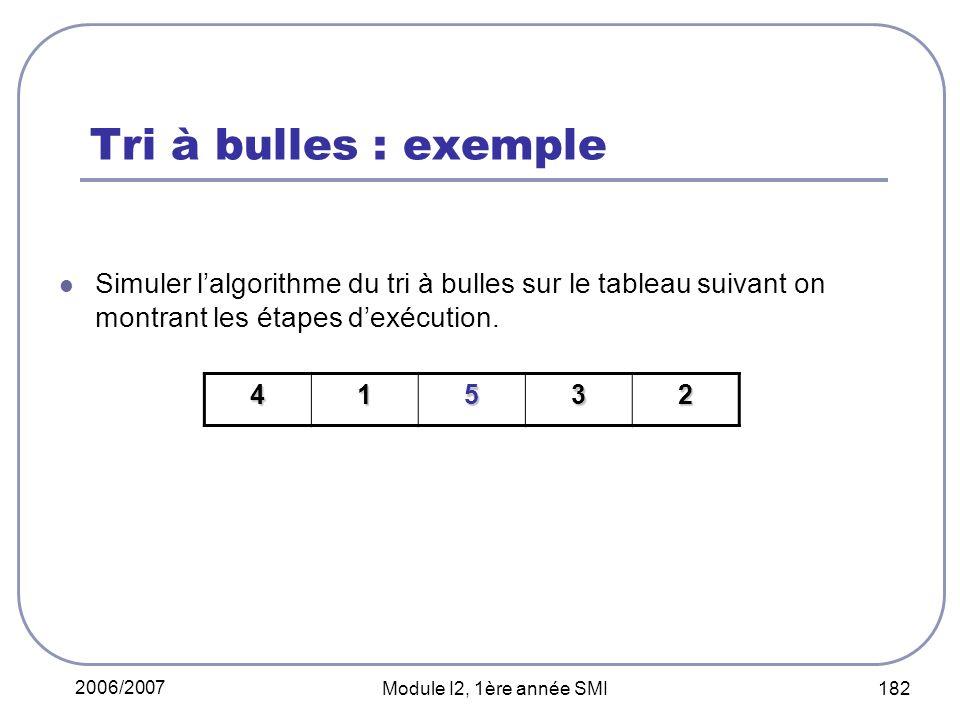 2006/2007 Module I2, 1ère année SMI 182 Tri à bulles : exemple Simuler lalgorithme du tri à bulles sur le tableau suivant on montrant les étapes dexécution.