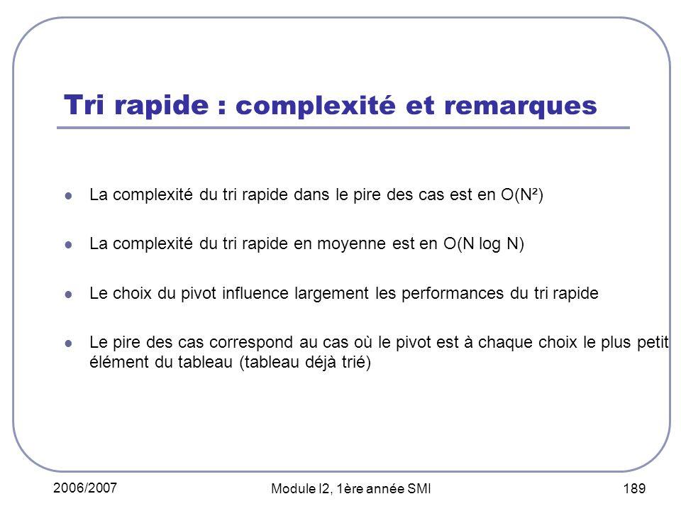 2006/2007 Module I2, 1ère année SMI 189 Tri rapide : complexité et remarques La complexité du tri rapide dans le pire des cas est en O(N²) La complexi