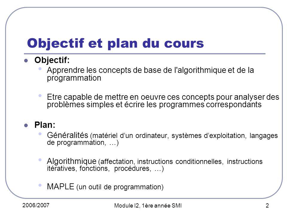 2006/2007 Module I2, 1ère année SMI 2 Objectif et plan du cours Objectif: Apprendre les concepts de base de l'algorithmique et de la programmation Etr