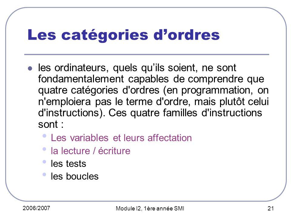 2006/2007 Module I2, 1ère année SMI 21 Les catégories dordres les ordinateurs, quels quils soient, ne sont fondamentalement capables de comprendre que quatre catégories d ordres (en programmation, on n emploiera pas le terme d ordre, mais plutôt celui d instructions).