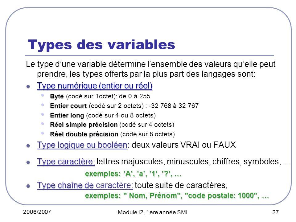 2006/2007 Module I2, 1ère année SMI 27 Types des variables Le type dune variable détermine lensemble des valeurs quelle peut prendre, les types offerts par la plus part des langages sont: Type numérique (entier ou réel) Type numérique (entier ou réel) Byte Byte (codé sur 1octet): de 0 à 255 Entier court Entier court (codé sur 2 octets) : -32 768 à 32 767 Entier long Entier long (codé sur 4 ou 8 octets) Réel simple précision Réel simple précision (codé sur 4 octets) Réel double précision Réel double précision (codé sur 8 octets) Type logique ou booléen: Type logique ou booléen: deux valeurs VRAI ou FAUX Type caractère: Type caractère: lettres majuscules, minuscules, chiffres, symboles, … exemples: A, a, 1, ?, … Type chaîne de exemples: Nom, Prénom , code postale: 1000 , … Type chaîne de caractère: toute suite de caractères, exemples: Nom, Prénom , code postale: 1000 , …