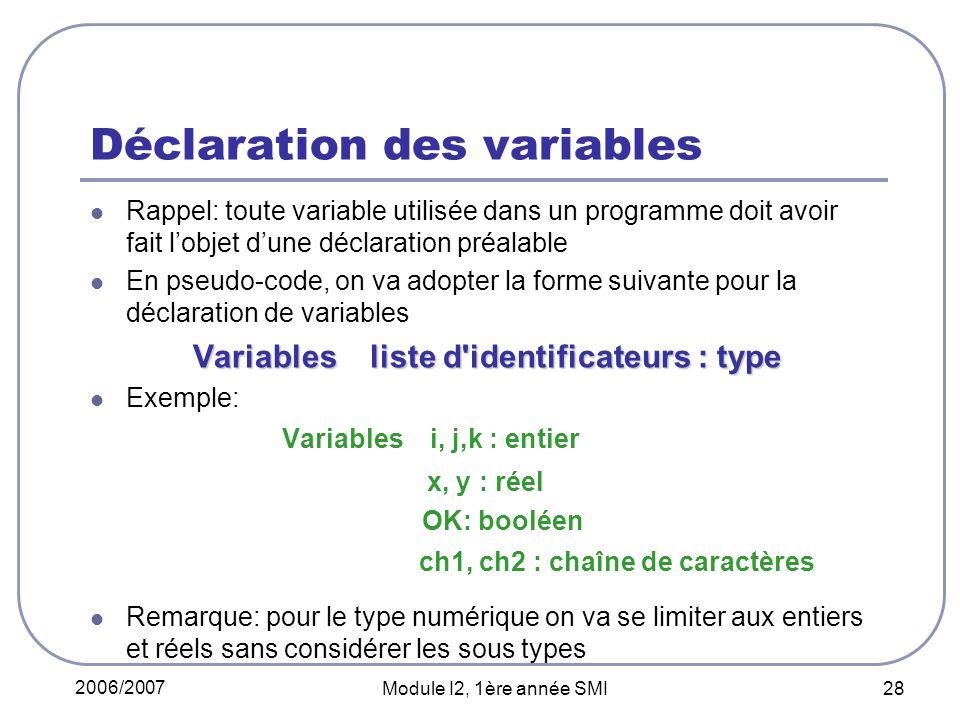 2006/2007 Module I2, 1ère année SMI 28 Déclaration des variables Rappel: toute variable utilisée dans un programme doit avoir fait lobjet dune déclaration préalable En pseudo-code, on va adopter la forme suivante pour la déclaration de variables Variables liste d identificateurs : type Exemple: Variables i, j,k : entier x, y : réel OK: booléen ch1, ch2 : chaîne de caractères Remarque: pour le type numérique on va se limiter aux entiers et réels sans considérer les sous types