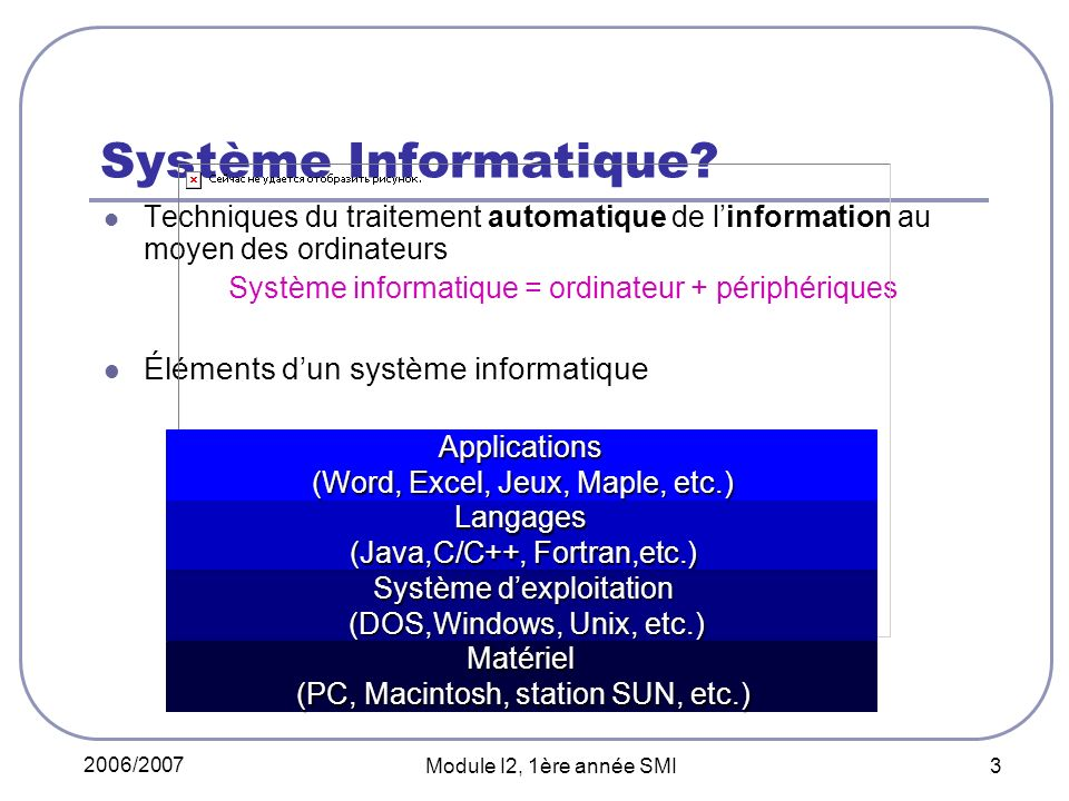 2006/2007 Module I2, 1ère année SMI 3 Système Informatique.