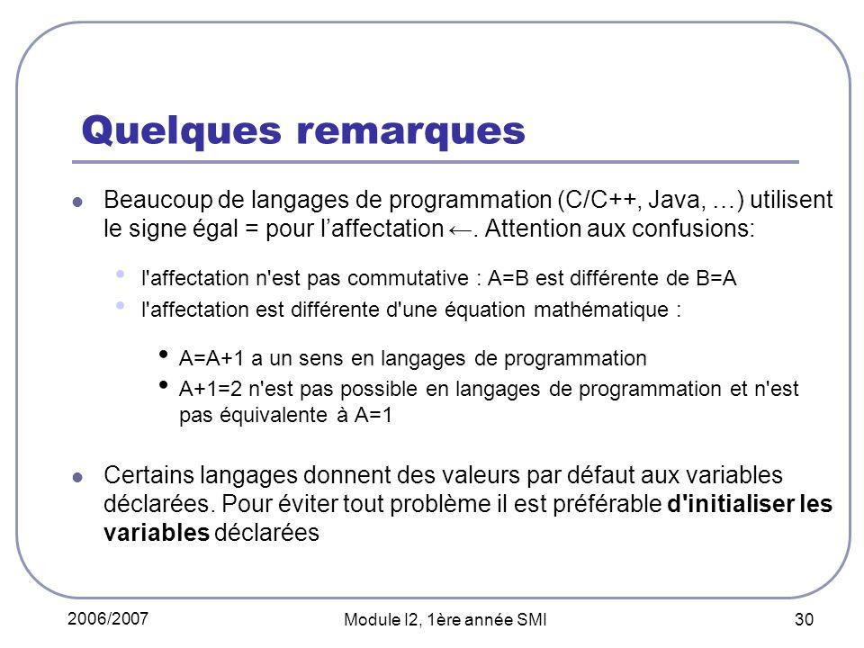 2006/2007 Module I2, 1ère année SMI 30 Quelques remarques Beaucoup de langages de programmation (C/C++, Java, …) utilisent le signe égal = pour laffectation.