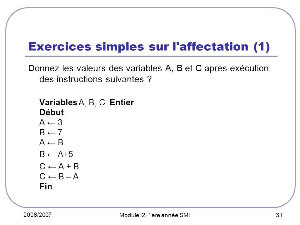 2006/2007 Module I2, 1ère année SMI 31 Exercices simples sur l'affectation (1) Donnez les valeurs des variables A, B et C après exécution des instruct