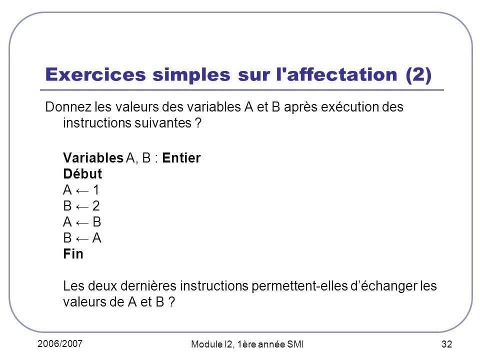 2006/2007 Module I2, 1ère année SMI 32 Exercices simples sur l affectation (2) Donnez les valeurs des variables A et B après exécution des instructions suivantes .