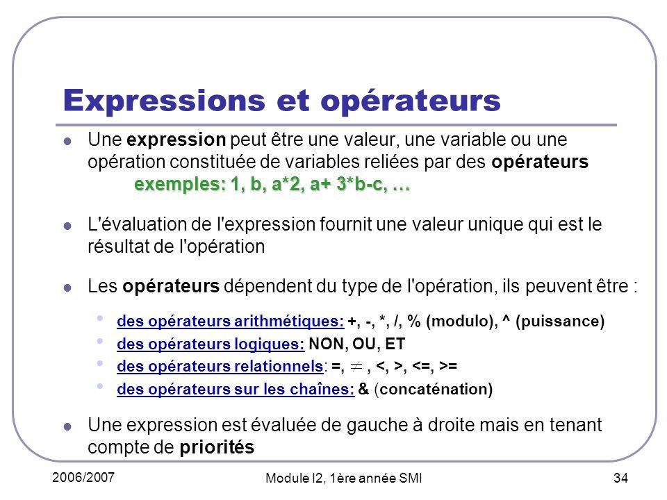 2006/2007 Module I2, 1ère année SMI 34 Expressions et opérateurs exemples: 1, b, a*2, a+ 3*b-c, … Une expression peut être une valeur, une variable ou une opération constituée de variables reliées par des opérateurs exemples: 1, b, a*2, a+ 3*b-c, … L évaluation de l expression fournit une valeur unique qui est le résultat de l opération Les opérateurs dépendent du type de l opération, ils peuvent être : des opérateurs arithmétiques: +, -, *, /, % (modulo), ^ (puissance) des opérateurs logiques: NON, OU, ET des opérateurs relationnels: =,,, = des opérateurs sur les chaînes: & (concaténation) Une expression est évaluée de gauche à droite mais en tenant compte de priorités