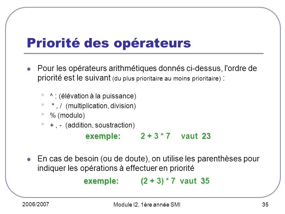 2006/2007 Module I2, 1ère année SMI 35 Priorité des opérateurs Pour les opérateurs arithmétiques donnés ci-dessus, l ordre de priorité est le suivant (du plus prioritaire au moins prioritaire) : ^ : (élévation à la puissance) *, / (multiplication, division) % (modulo) +, - (addition, soustraction) exemple: 23 exemple: 2 + 3 * 7 vaut 23 exemple: ( 3 En cas de besoin (ou de doute), on utilise les parenthèses pour indiquer les opérations à effectuer en priorité exemple: (2 + 3) * 7 vaut 35