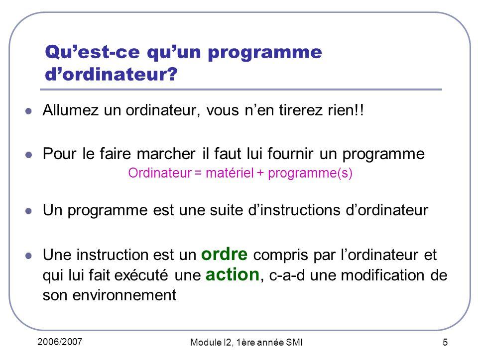 2006/2007 Module I2, 1ère année SMI 5 Quest-ce quun programme dordinateur? Allumez un ordinateur, vous nen tirerez rien!! Pour le faire marcher il fau