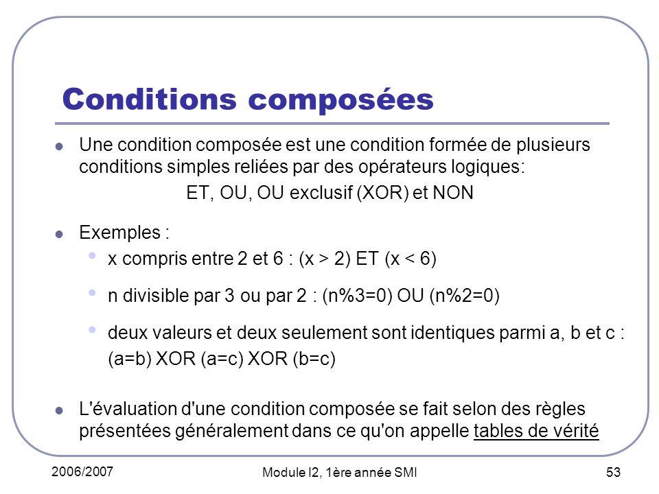 2006/2007 Module I2, 1ère année SMI 53 Conditions composées Une condition composée est une condition formée de plusieurs conditions simples reliées par des opérateurs logiques: ET, OU, OU exclusif (XOR) et NON Exemples : x compris entre 2 et 6 : (x > 2) ET (x < 6) n divisible par 3 ou par 2 : (n%3=0) OU (n%2=0) deux valeurs et deux seulement sont identiques parmi a, b et c : (a=b) XOR (a=c) XOR (b=c) L évaluation d une condition composée se fait selon des règles présentées généralement dans ce qu on appelle tables de vérité