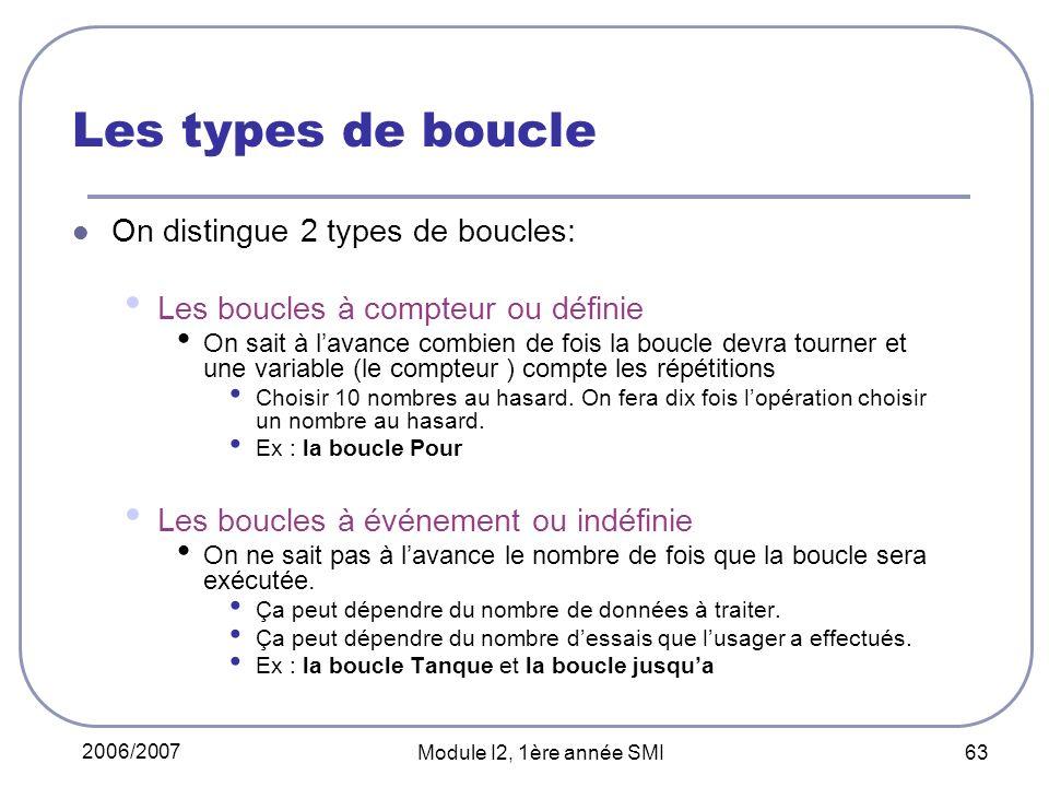 2006/2007 Module I2, 1ère année SMI 63 Les types de boucle On distingue 2 types de boucles: Les boucles à compteur ou définie On sait à lavance combie