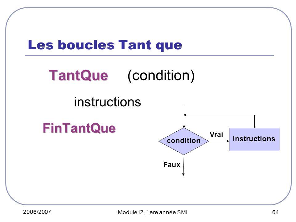 2006/2007 Module I2, 1ère année SMI 64 Les boucles Tant que TantQue TantQue (condition) instructions FinTantQue FinTantQue condition instructions Faux Vrai