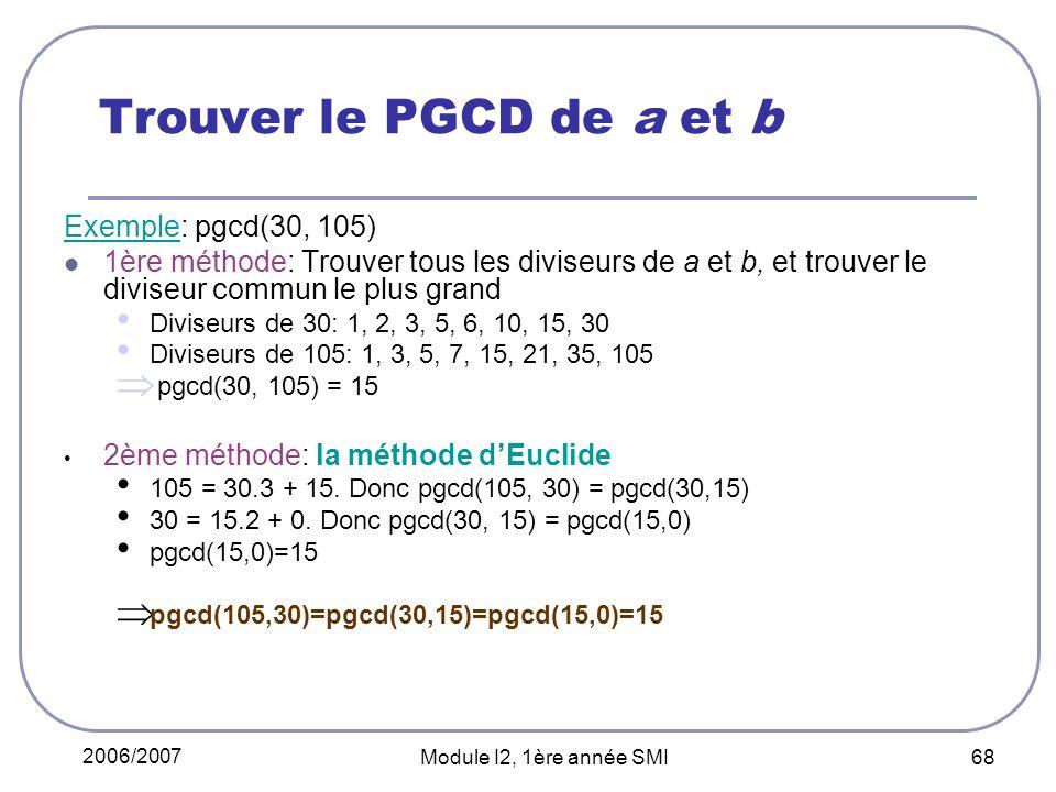 2006/2007 Module I2, 1ère année SMI 68 Trouver le PGCD de a et b Exemple: pgcd(30, 105) 1ère méthode: Trouver tous les diviseurs de a et b, et trouver le diviseur commun le plus grand Diviseurs de 30: 1, 2, 3, 5, 6, 10, 15, 30 Diviseurs de 105: 1, 3, 5, 7, 15, 21, 35, 105 pgcd(30, 105) = 15 2ème méthode: la méthode dEuclide 105 = 30.3 + 15.
