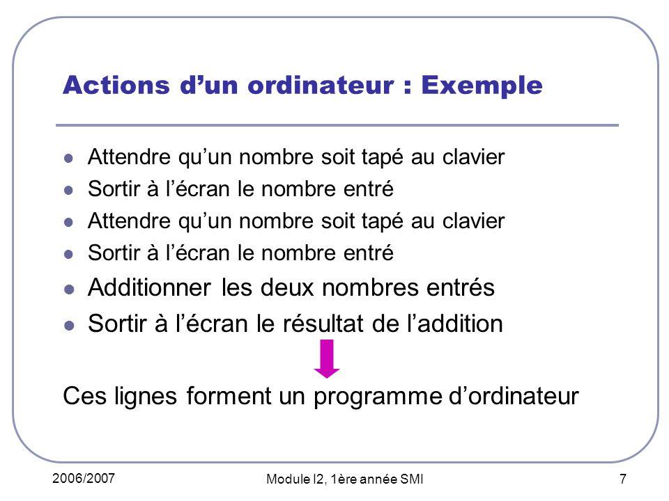 2006/2007 Module I2, 1ère année SMI 7 Actions dun ordinateur : Exemple Attendre quun nombre soit tapé au clavier Sortir à lécran le nombre entré Attendre quun nombre soit tapé au clavier Sortir à lécran le nombre entré Additionner les deux nombres entrés Sortir à lécran le résultat de laddition Ces lignes forment un programme dordinateur