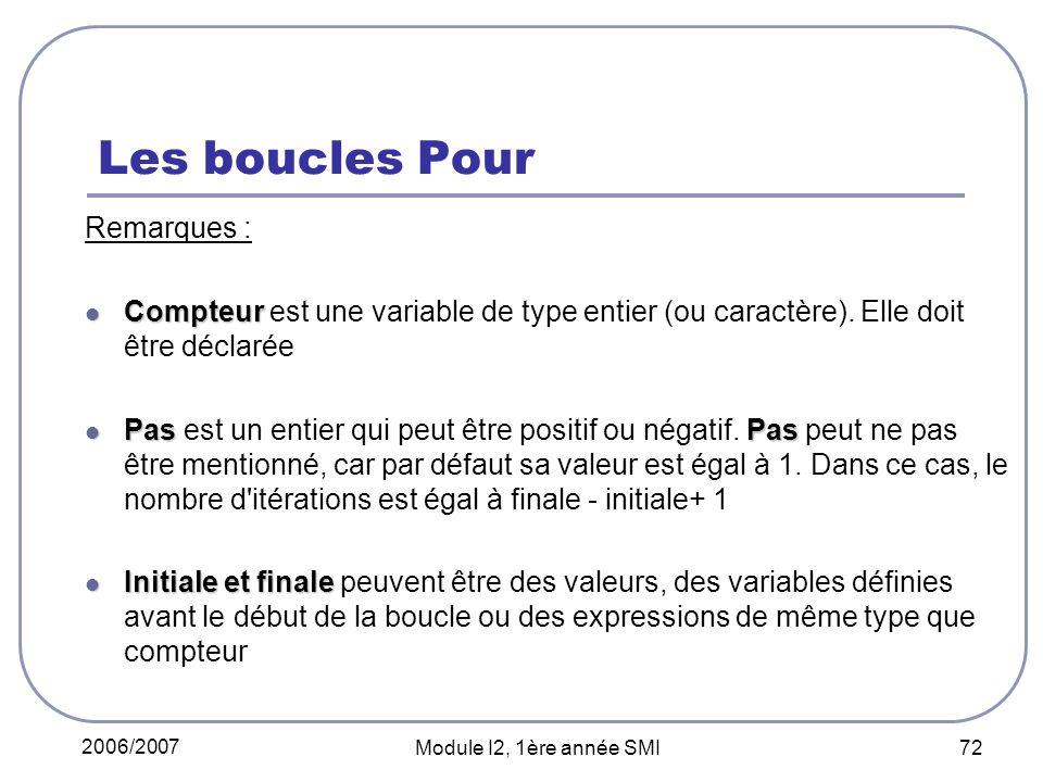 2006/2007 Module I2, 1ère année SMI 72 Les boucles Pour Remarques : Compteur Compteur est une variable de type entier (ou caractère). Elle doit être d