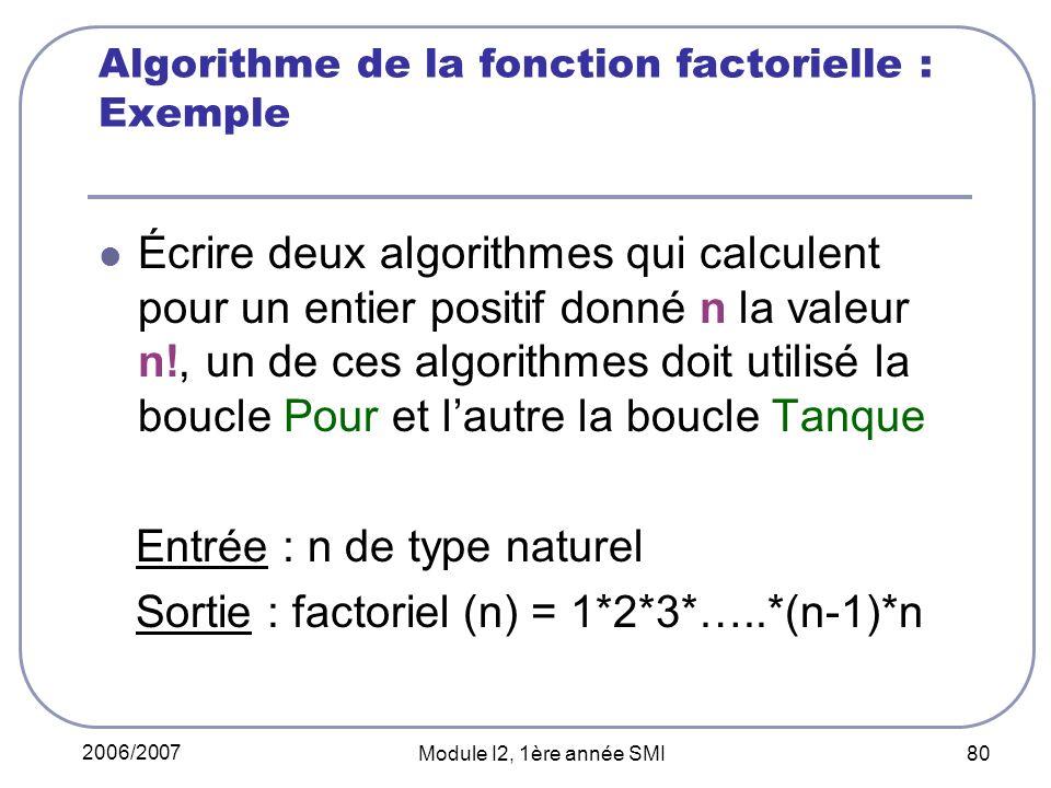 2006/2007 Module I2, 1ère année SMI 80 Algorithme de la fonction factorielle : Exemple Écrire deux algorithmes qui calculent pour un entier positif donné n la valeur n!, un de ces algorithmes doit utilisé la boucle Pour et lautre la boucle Tanque Entrée : n de type naturel Sortie : factoriel (n) = 1*2*3*…..*(n-1)*n
