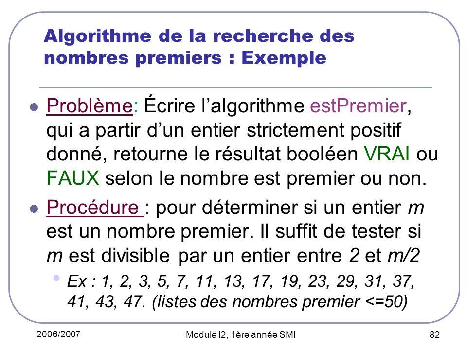 2006/2007 Module I2, 1ère année SMI 82 Algorithme de la recherche des nombres premiers : Exemple Problème: Écrire lalgorithme estPremier, qui a partir dun entier strictement positif donné, retourne le résultat booléen VRAI ou FAUX selon le nombre est premier ou non.