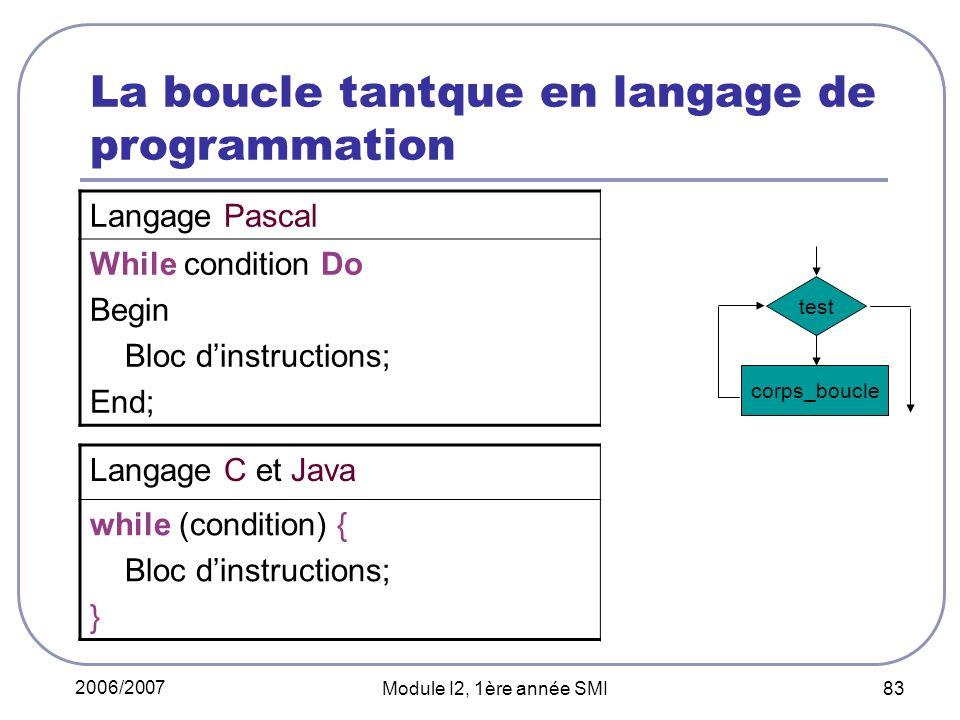 2006/2007 Module I2, 1ère année SMI 83 La boucle tantque en langage de programmation Langage C et Java while (condition) { Bloc dinstructions; } corps_boucle test Langage Pascal While condition Do Begin Bloc dinstructions; End;