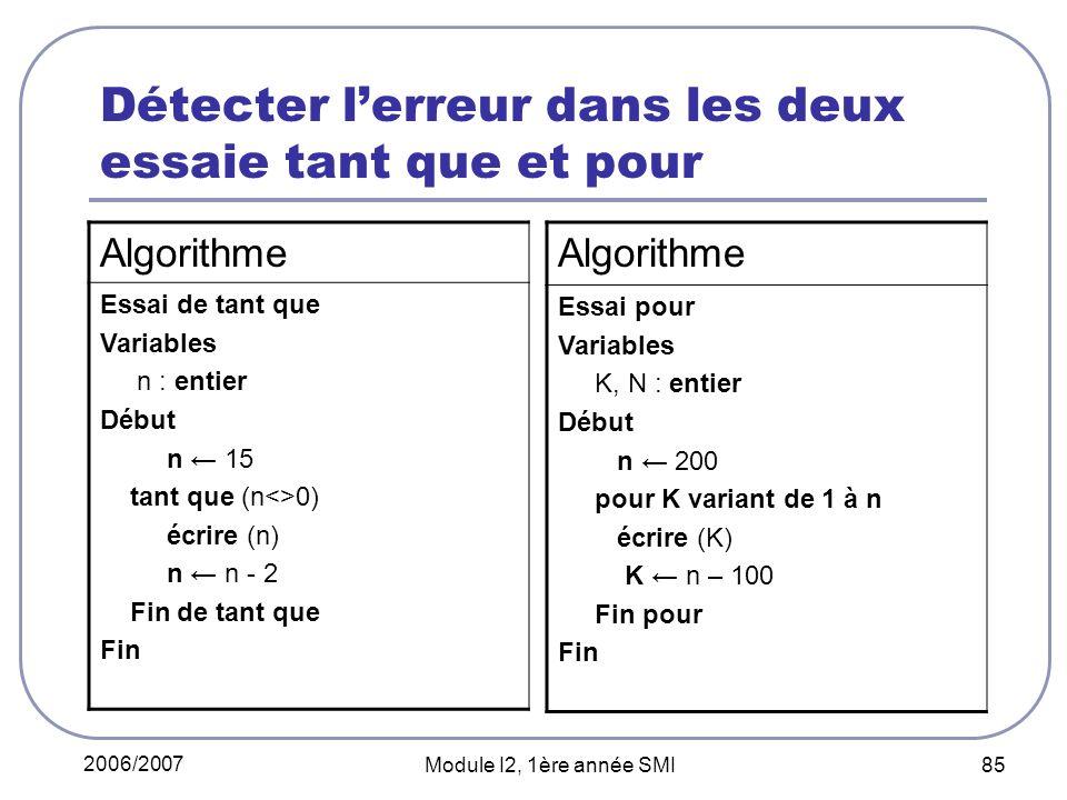 2006/2007 Module I2, 1ère année SMI 85 Détecter lerreur dans les deux essaie tant que et pour Algorithme Essai de tant que Variables n : entier Début n 15 tant que (n<>0) écrire (n) n n - 2 Fin de tant que Fin Algorithme Essai pour Variables K, N : entier Début n 200 pour K variant de 1 à n écrire (K) K n – 100 Fin pour Fin