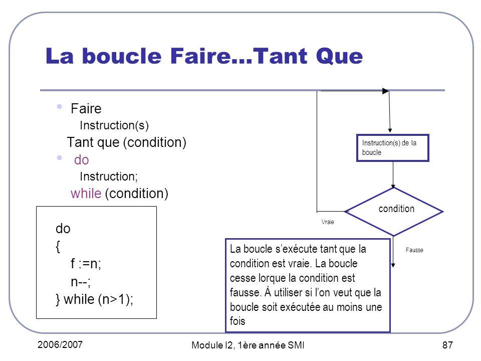 2006/2007 Module I2, 1ère année SMI 87 La boucle Faire…Tant Que Faire Instruction(s) Tant que (condition) do Instruction; while (condition) do { f :=n; n--; } while (n>1); condition Instruction(s) de la boucle Vraie Fausse La boucle sexécute tant que la condition est vraie.
