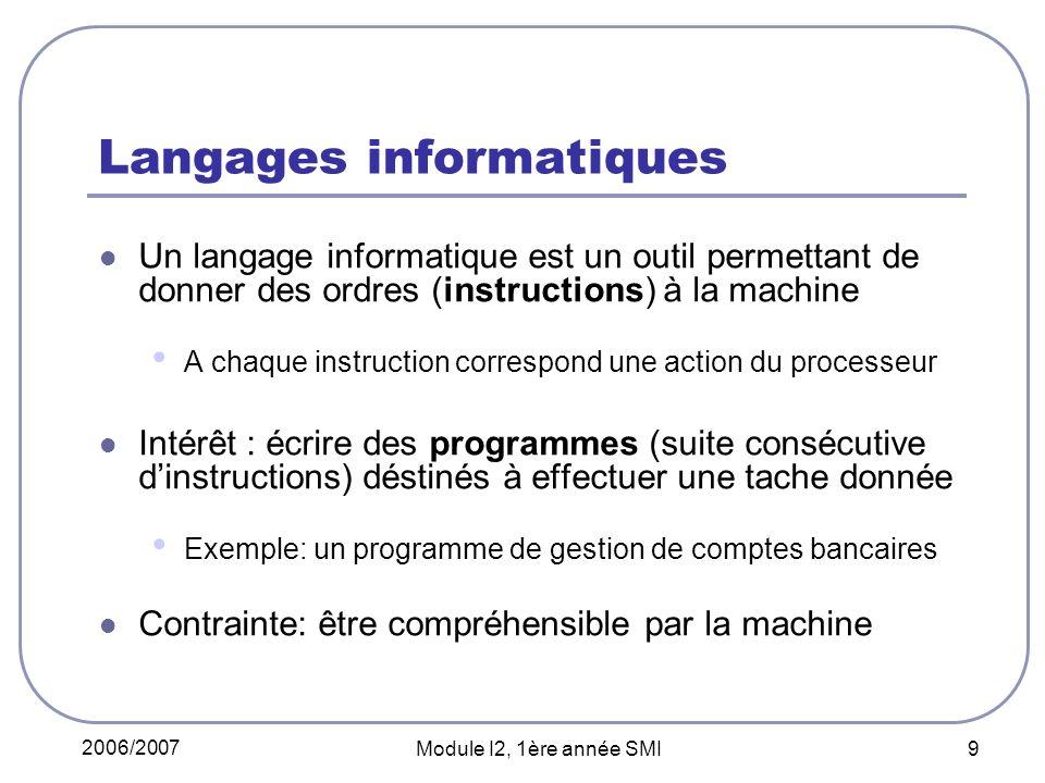 2006/2007 Module I2, 1ère année SMI 9 Langages informatiques Un langage informatique est un outil permettant de donner des ordres (instructions) à la