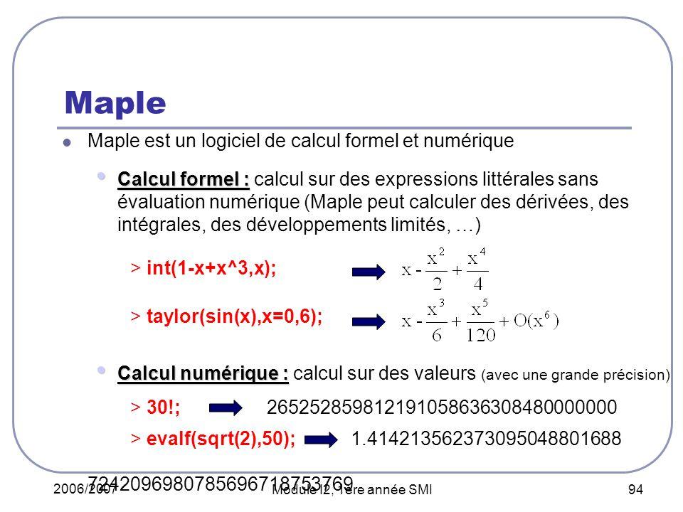2006/2007 Module I2, 1ère année SMI 94 Maple Maple est un logiciel de calcul formel et numérique Calcul formel : Calcul formel : calcul sur des expressions littérales sans évaluation numérique (Maple peut calculer des dérivées, des intégrales, des développements limités, …) > int(1-x+x^3,x); > taylor(sin(x),x=0,6); Calcul numérique : Calcul numérique : calcul sur des valeurs (avec une grande précision) > 30!; 265252859812191058636308480000000 > evalf(sqrt(2),50); 1.414213562373095048801688 7242096980785696718753769