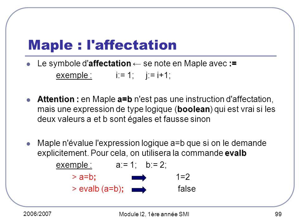 2006/2007 Module I2, 1ère année SMI 99 Maple : l affectation affectation:= Le symbole d affectation se note en Maple avec := exemple : i:= 1; j:= i+1; Attention : a=b boolean Attention : en Maple a=b n est pas une instruction d affectation, mais une expression de type logique (boolean) qui est vrai si les deux valeurs a et b sont égales et fausse sinon evalb Maple n évalue l expression logique a=b que si on le demande explicitement.