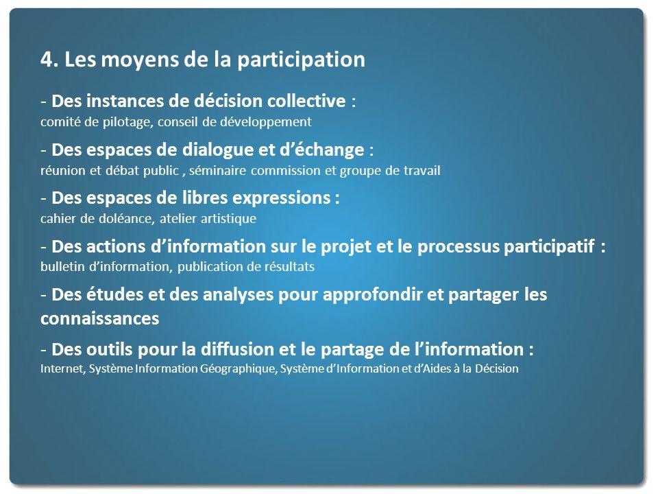 4. Les moyens de la participation - Des instances de décision collective : comité de pilotage, conseil de développement - Des espaces de dialogue et d
