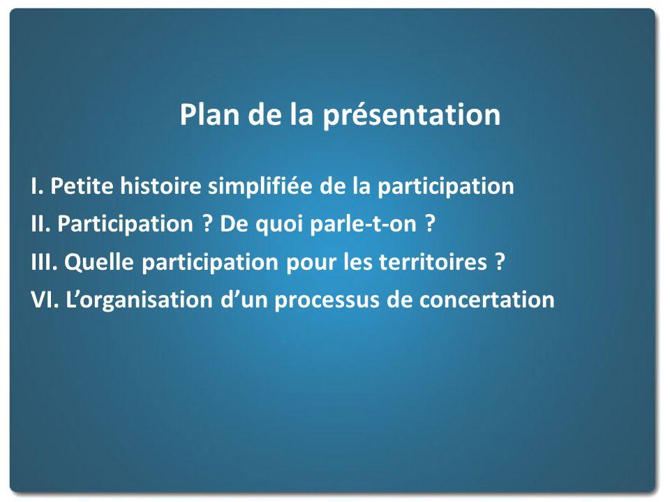 Plan de la présentation I. Petite histoire simplifiée de la participation II. Participation ? De quoi parle-t-on ? III. Quelle participation pour les