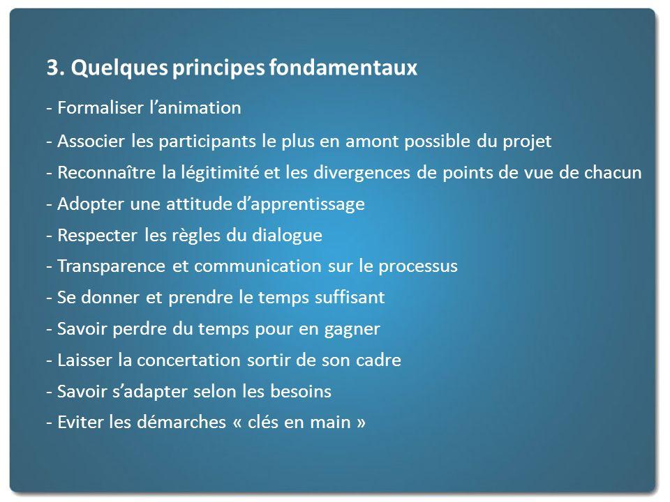 3. Quelques principes fondamentaux - Formaliser lanimation - Associer les participants le plus en amont possible du projet - Reconnaître la légitimité