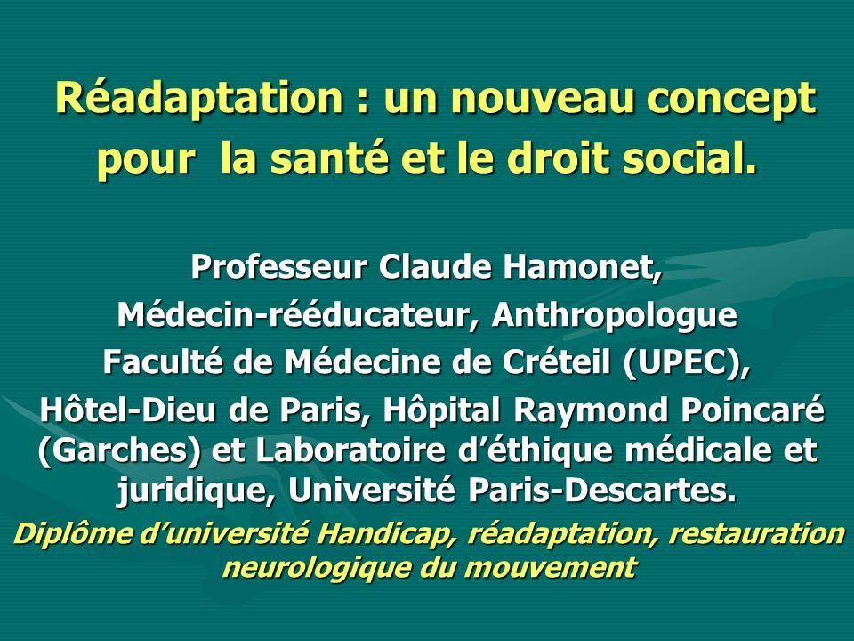 Réadaptation : un nouveau concept pour la santé et le droit social. Réadaptation : un nouveau concept pour la santé et le droit social. Professeur Cla