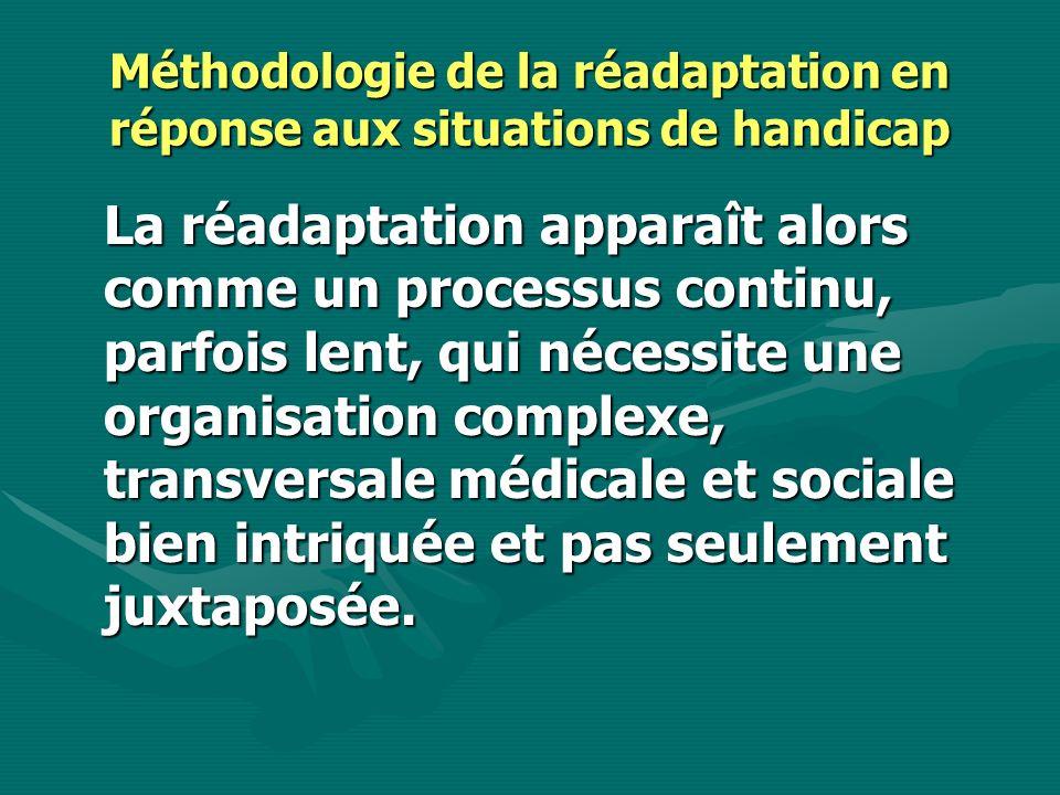 Méthodologie de la réadaptation en réponse aux situations de handicap La réadaptation apparaît alors comme un processus continu, parfois lent, qui néc
