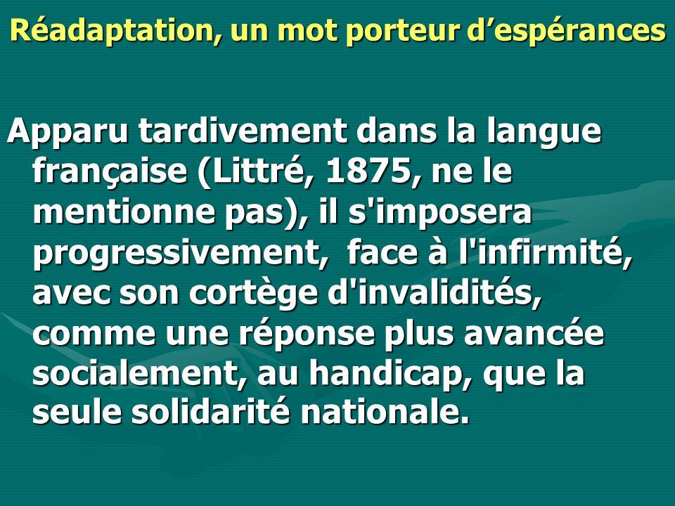 La réadaptation donne une dimension humaine à la santé La Réadaptation introduit une nouvelle dimension que l on peut schématiser de la façon suivante.La Réadaptation introduit une nouvelle dimension que l on peut schématiser de la façon suivante.