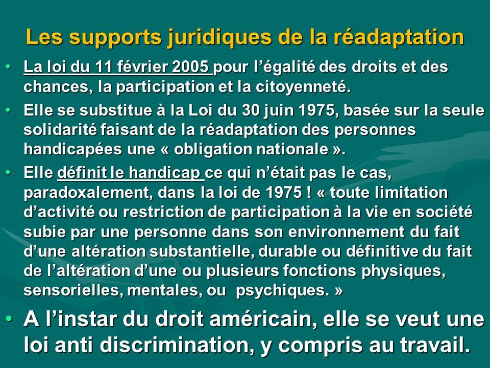 Les supports juridiques de la réadaptation La loi du 11 février 2005 pour légalité des droits et des chances, la participation et la citoyenneté.La lo