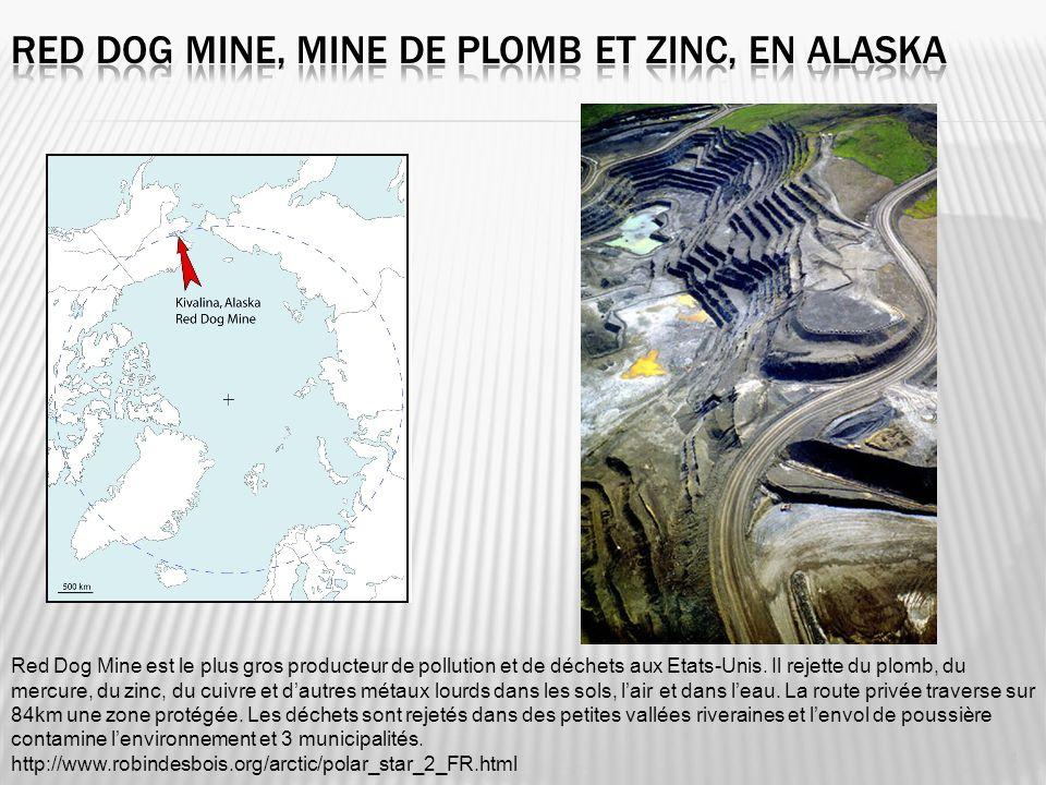 Red Dog Mine est le plus gros producteur de pollution et de déchets aux Etats-Unis. Il rejette du plomb, du mercure, du zinc, du cuivre et dautres mét