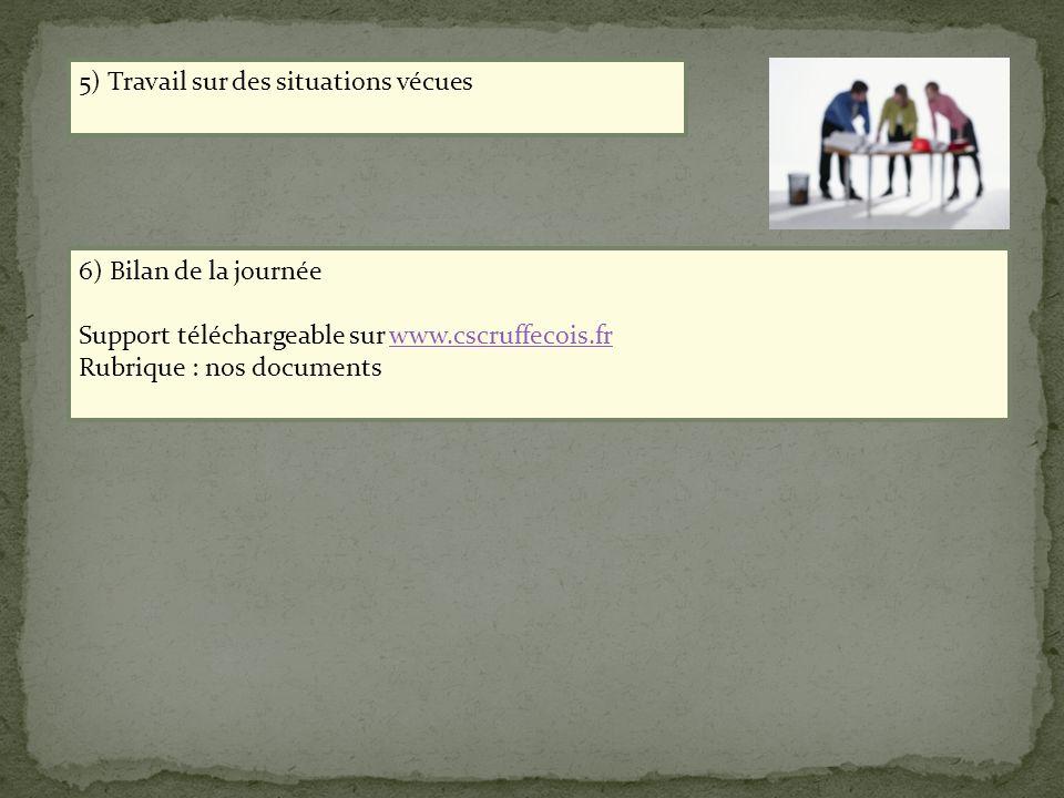 6) Bilan de la journée Support téléchargeable sur www.cscruffecois.frwww.cscruffecois.fr Rubrique : nos documents 5) Travail sur des situations vécues