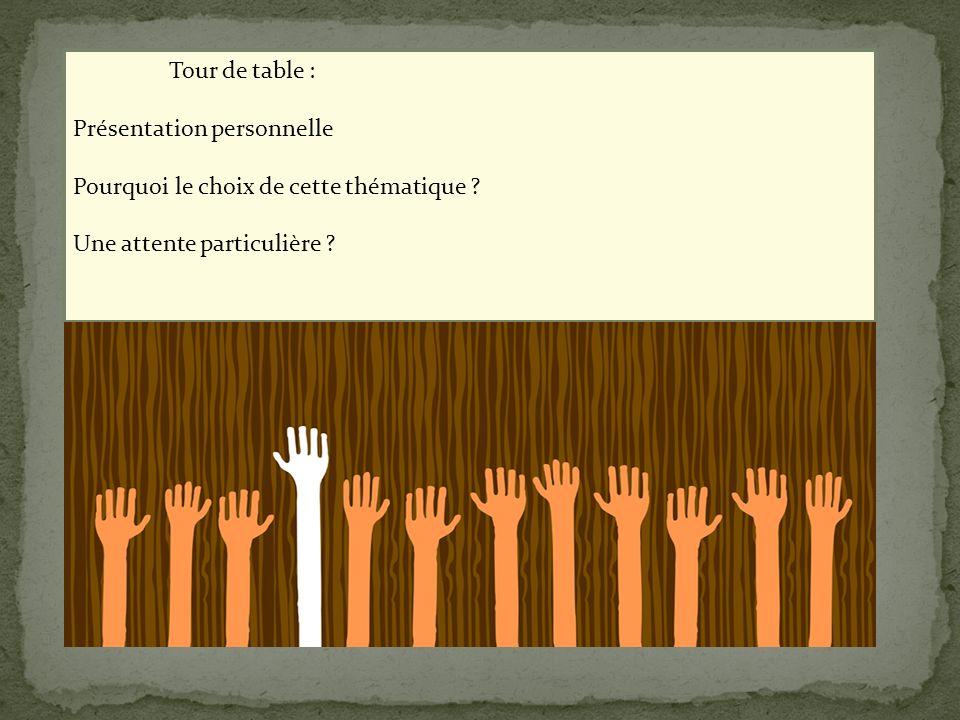 Tour de table : Présentation personnelle Pourquoi le choix de cette thématique ? Une attente particulière ?