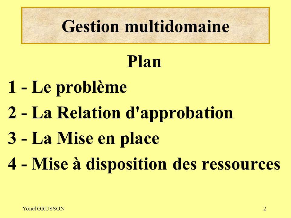 Yonel GRUSSON2 Gestion multidomaine Plan 1 - Le problème 2 - La Relation d'approbation 3 - La Mise en place 4 - Mise à disposition des ressources