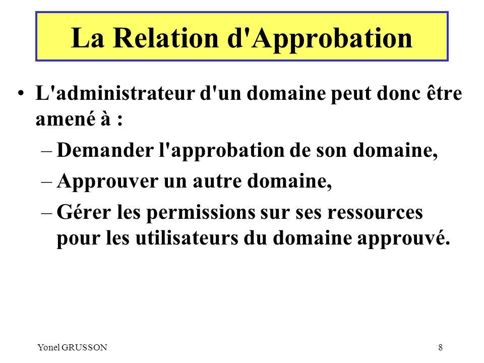 Yonel GRUSSON8 L'administrateur d'un domaine peut donc être amené à : –Demander l'approbation de son domaine, –Approuver un autre domaine, –Gérer les