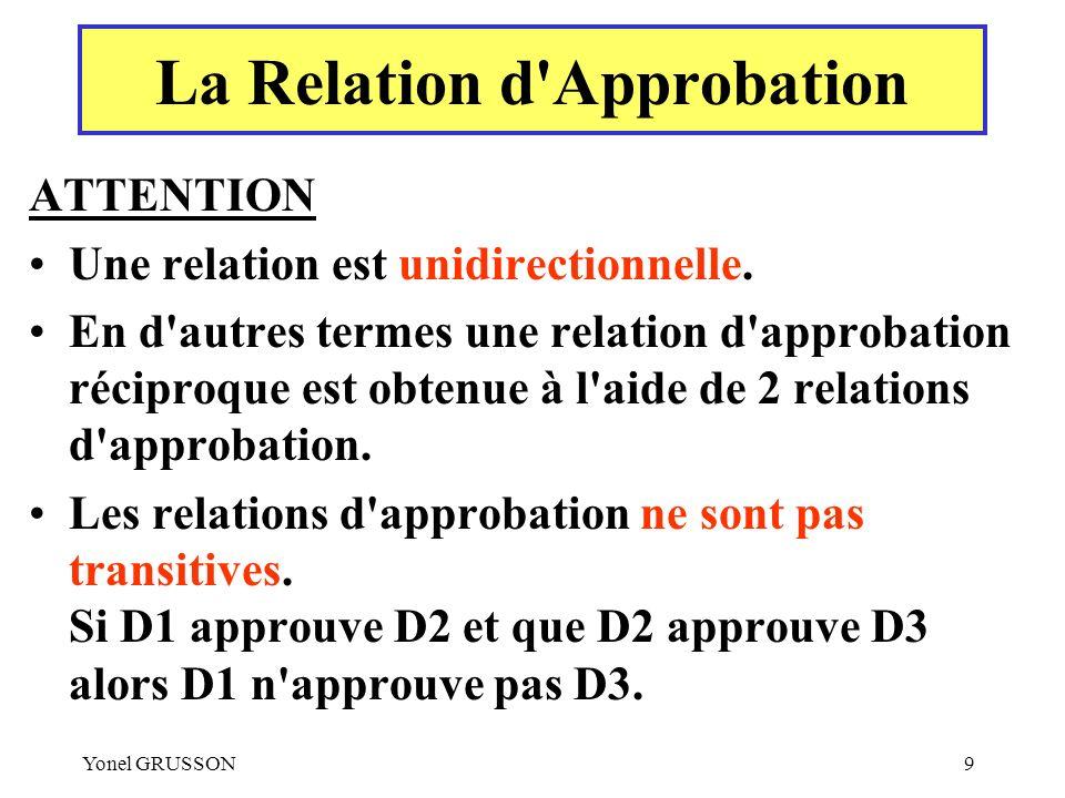 Yonel GRUSSON9 ATTENTION Une relation est unidirectionnelle. En d'autres termes une relation d'approbation réciproque est obtenue à l'aide de 2 relati