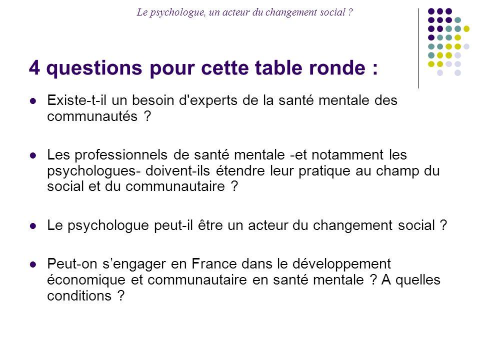 Le psychologue, un acteur du changement social ? 4 questions pour cette table ronde : Existe-t-il un besoin d'experts de la santé mentale des communau