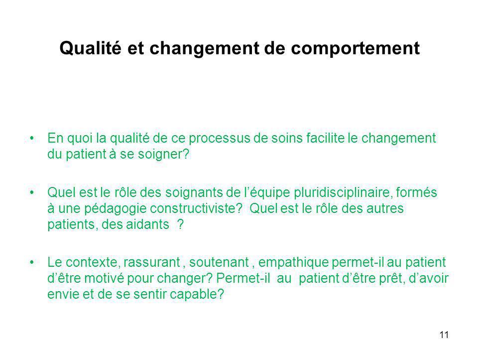 Qualité et changement de comportement En quoi la qualité de ce processus de soins facilite le changement du patient à se soigner? Quel est le rôle des