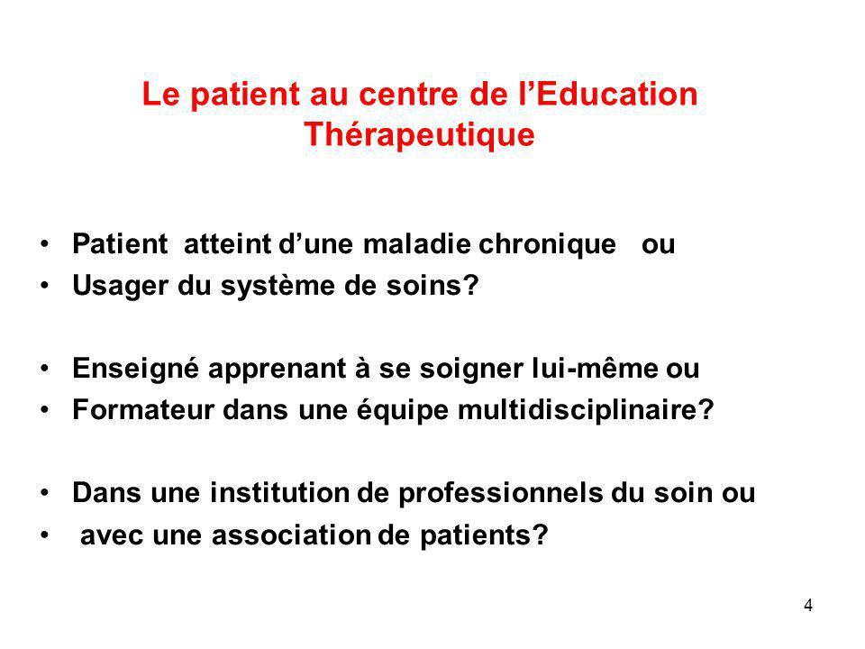 Le patient au centre de lEducation Thérapeutique Patient atteint dune maladie chronique ou Usager du système de soins? Enseigné apprenant à se soigner